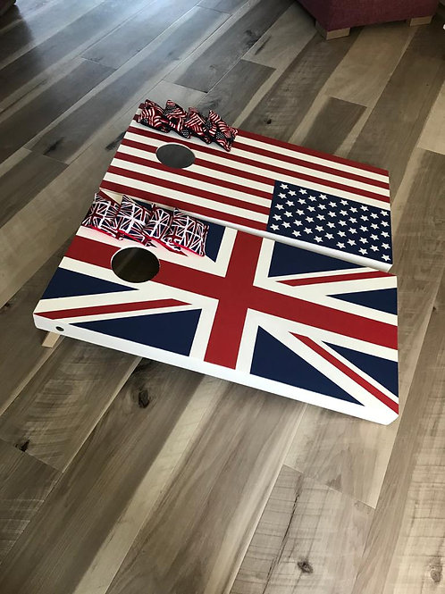 US & Union Jack Flag cornhole game