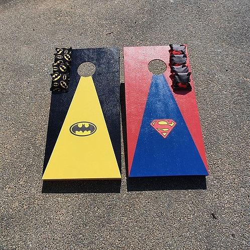 Batman vs Superman cornhole boards and 8 x throwing bags