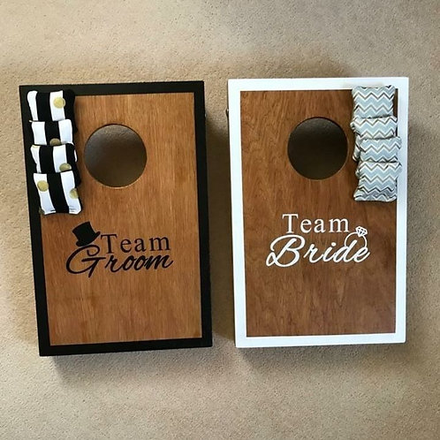 Team Bride vs Team Groom stained mini game