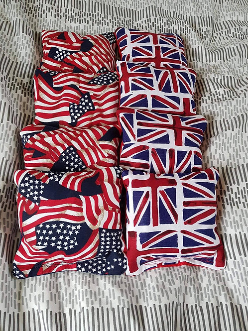 USA vs Union Jack flags cornhole bags