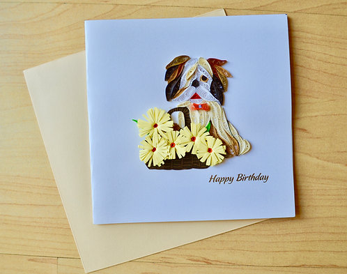 Puppy Happy Birthday Quilling card