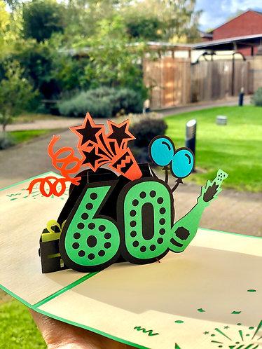 60th Birthday Pop up card (multicolours)