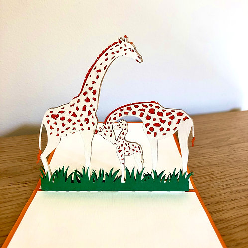 Giraffe birthday pop up card