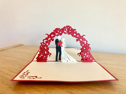 Marriage Under Flowers Pop up Card (small)