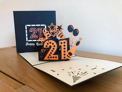 21st Birthday pop up card