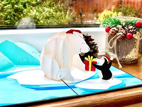 Christmas Polar Bear and penguin pop up card