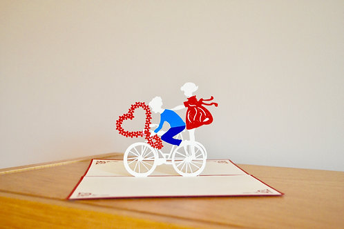 Love- Couple on bicycle Pop Up Card