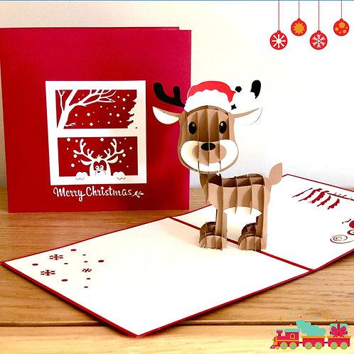 Christmas cute reindeer pop up card