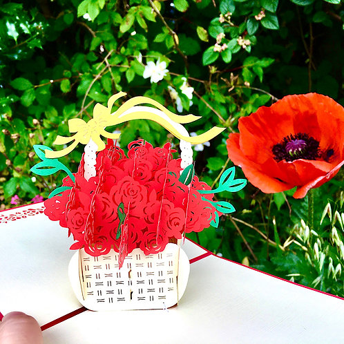 Rose basket pop up card