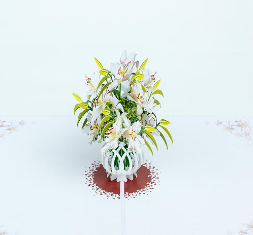 White lily vase pop up card