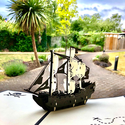 Pirate Ship Father's day pop up card, birthday pop up card for him