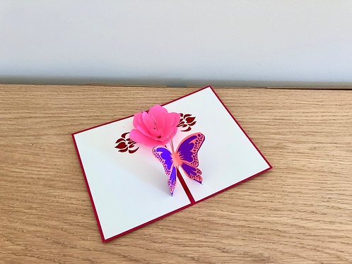 Butterfly and flower Pop up card