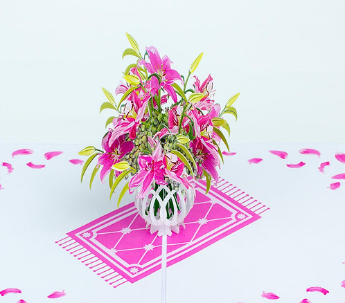 Pink lily vase pop up card
