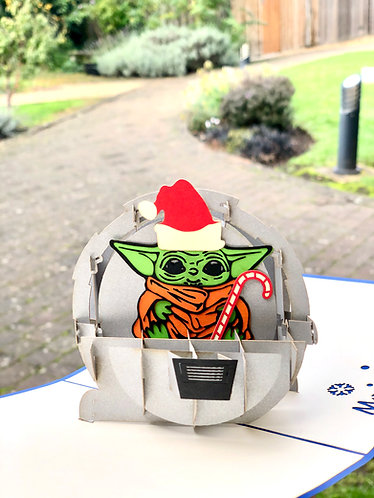 Christmas Baby Yoda card Mandalorian Star Wars pop up card