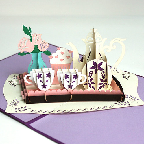 Afternoon Tea (Tea set)  Pop up cards/Birthday cards/Mother's day cards