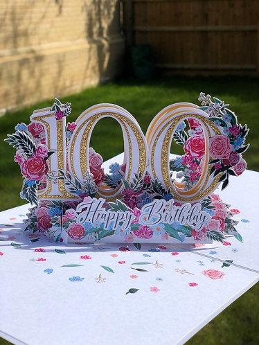 100th Birthday Pop up card