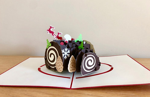 Christmas yule log cake pop up card