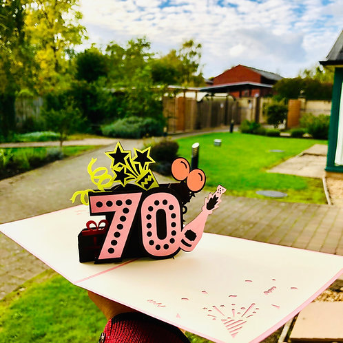 70th Birthday Pop up card (multicolours)