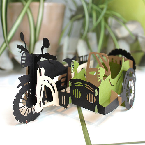 Motorbike with sidecar Pop up card