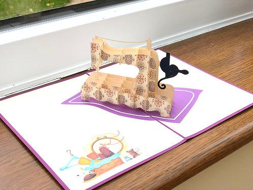 Sewing machine pop up card
