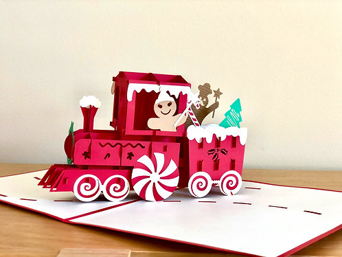 Christmas train and gingerbread pop up card