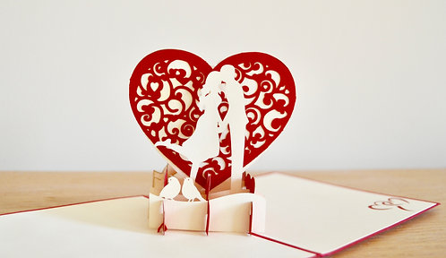 Love Kiss Couple Pop up Card