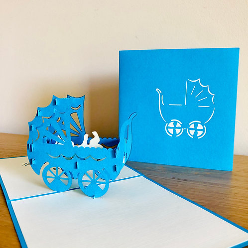 Baby Pram for Boy- Newborn Baby Boy Pop up card