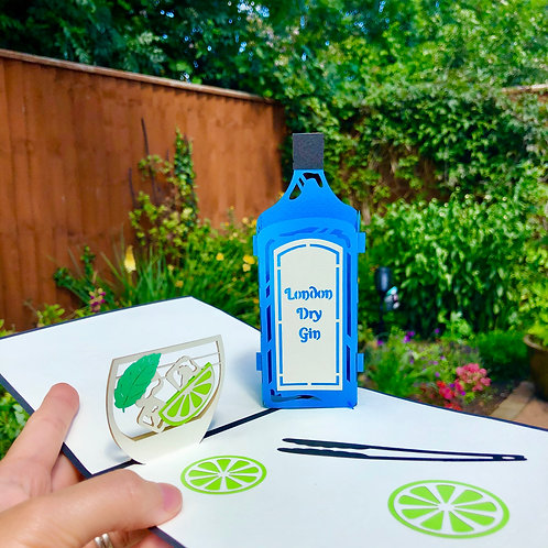 Gin and tonic pop up card