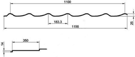 Металлочерепица размеры