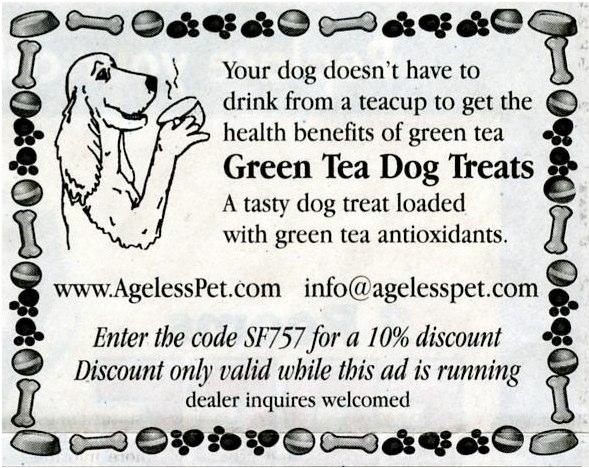 Newspaper design of dog drinking tea