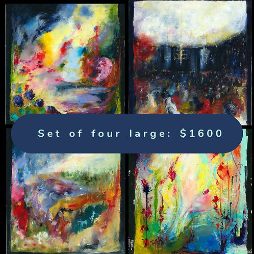 Set of four LARGE canvas prints