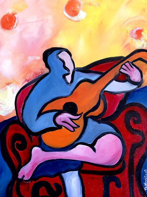 """Nocturne n. (A piece of music appropriate for the night or evening) 16""""x20"""" Oil"""