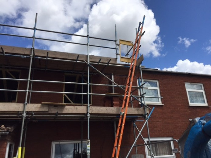 Scaffolding erected to allow repairs