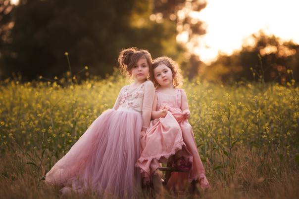 sisters, anna triant couture, flowers, editorial, natural light