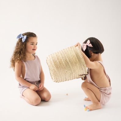 girls, commercial, photography, bows, curly hair, short hair, romper, basket