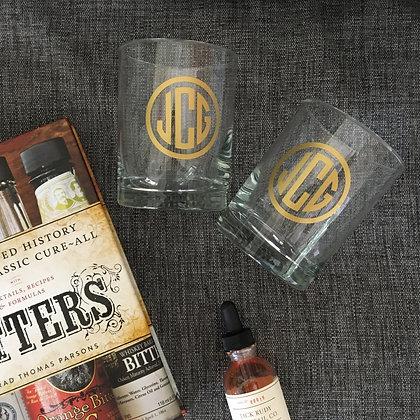 Monogrammed Rocks Cocktail Glasses Set of 2