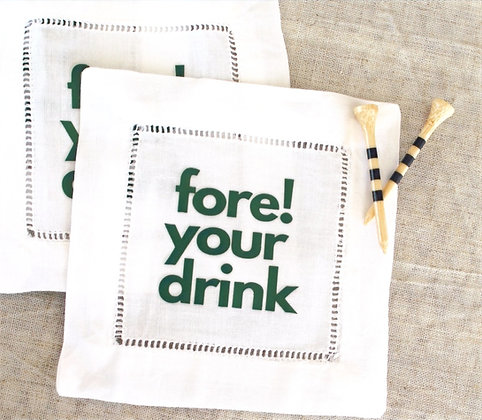 Personalized linen cocktail napkins - set of four - Fore! Your Drink