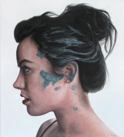 'Woman with blue paint on hair I' Kyle Barnes, 45x50cm, Oil on canvas