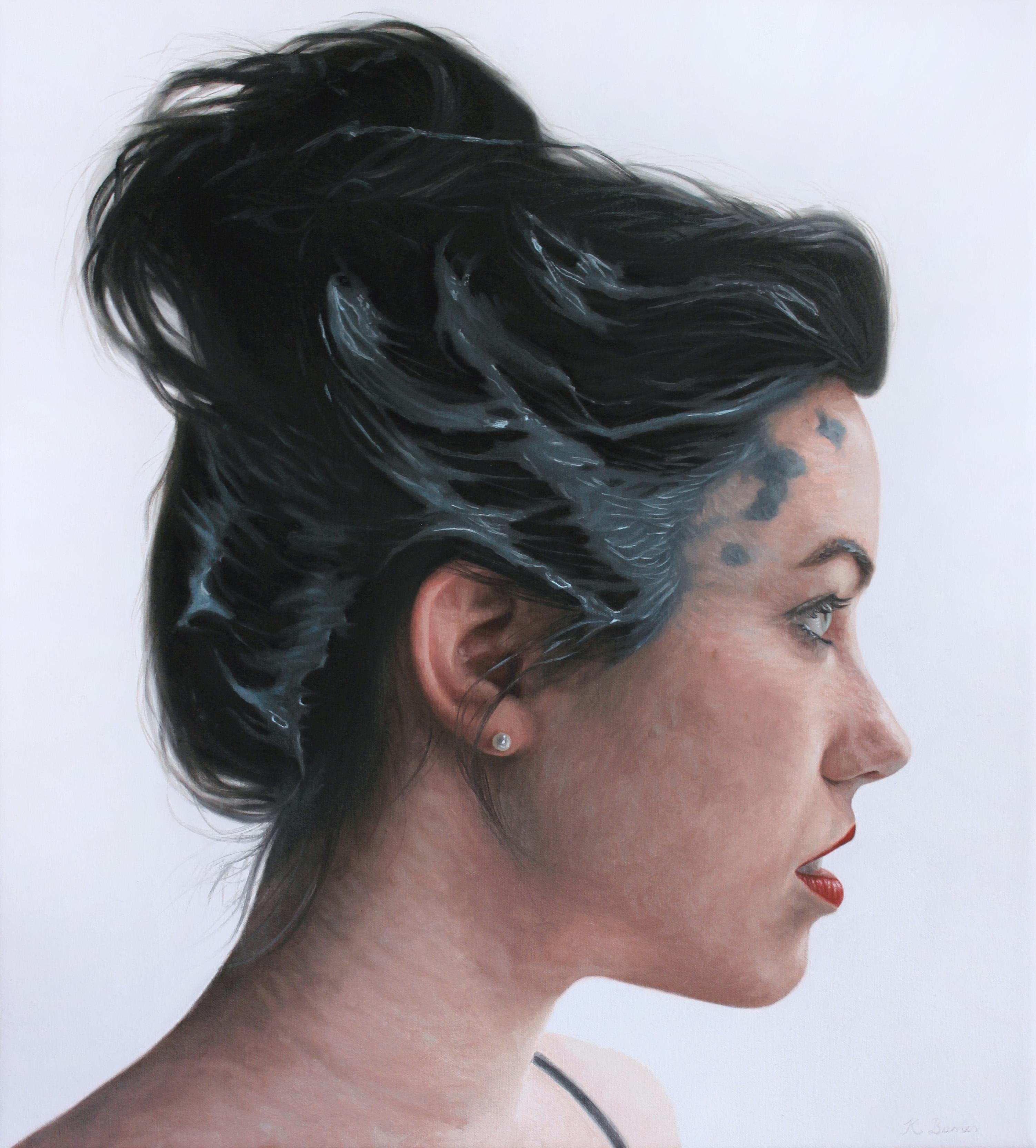 'Woman with blue paint on hair II' Kyle Barnes, 45x50cm, Oil on canvas
