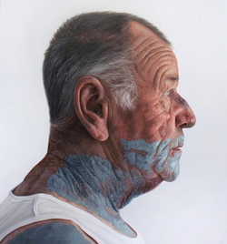 'Man with green paint on face' Oil on canvas, 76x71cm, Kyle Barnes