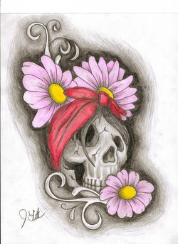 Skull Flower Sketch