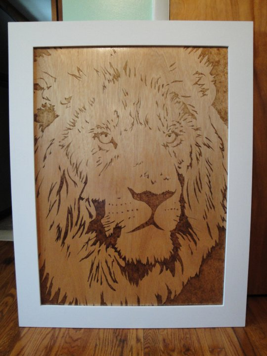 Lion Woodburning