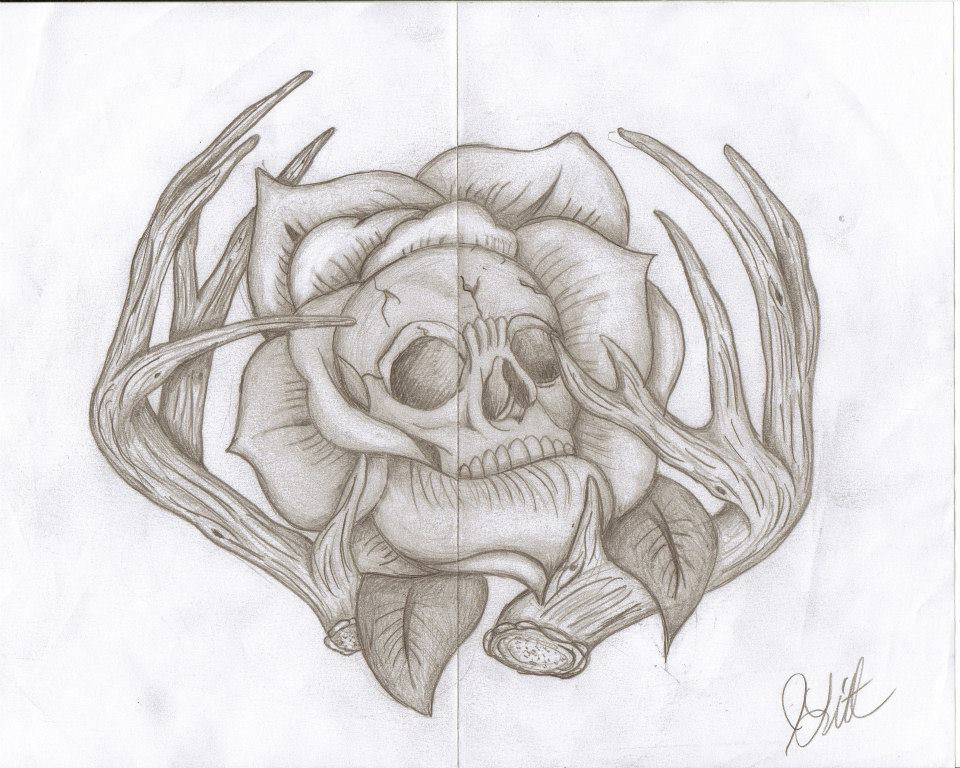 Skull Rose Antler Sketch