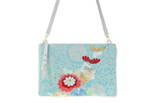 Shibori Kimono Sky-blue with flour embroidery