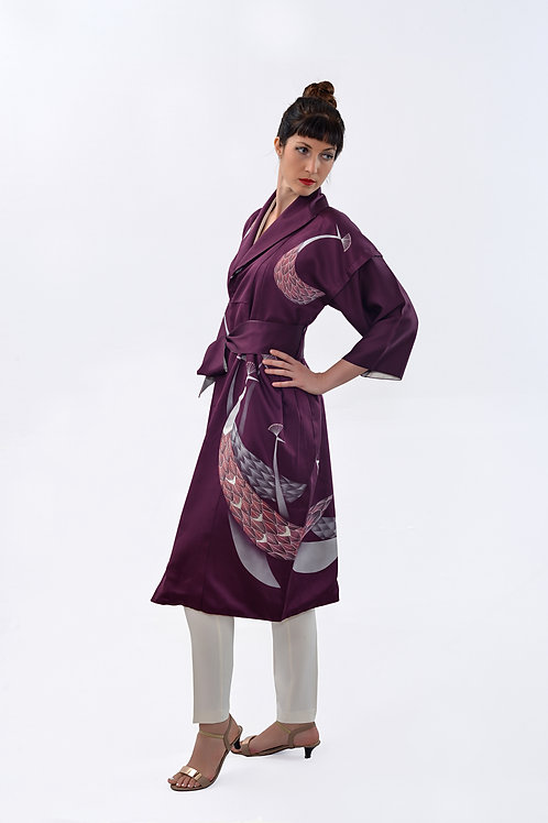 Peacock elegance with partial embroidery on satin silk Kimono