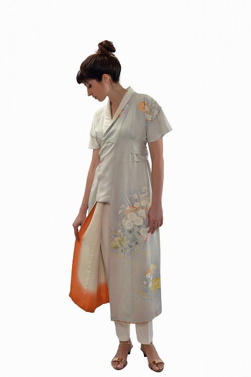 Feminine long dress with short sleeve