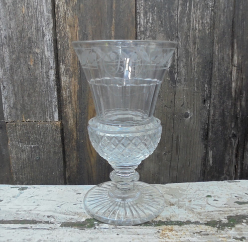 Antique Cut And Engraved Thistle Shaped Glass Vase