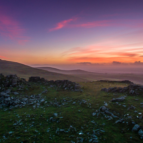Dartmoor landscape at sunset