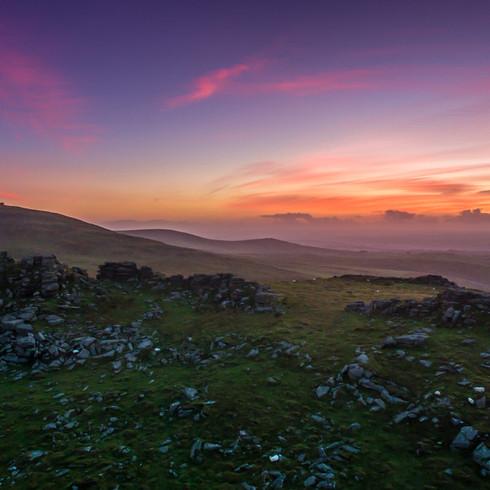 Dartmoor landscape at sunset