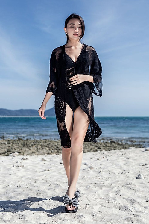 Mid Sleeve Kimono Cover Up - Black